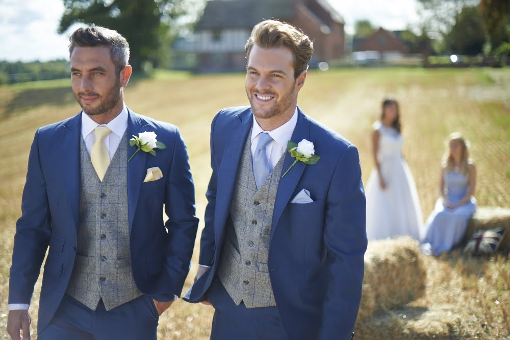 Spartacus Tweed Grey Blue Waistcoat Hire Only Hire5