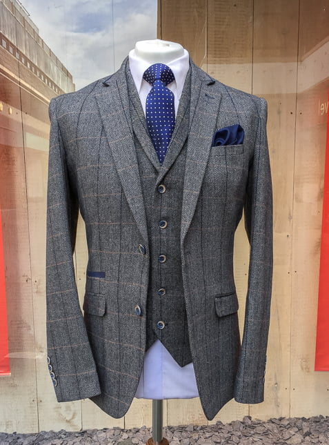 Cavani Albert Grey 3 Piece Tweed Suit Hire5 Menswear