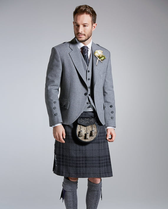 Light Grey Tweed Highland Outfit