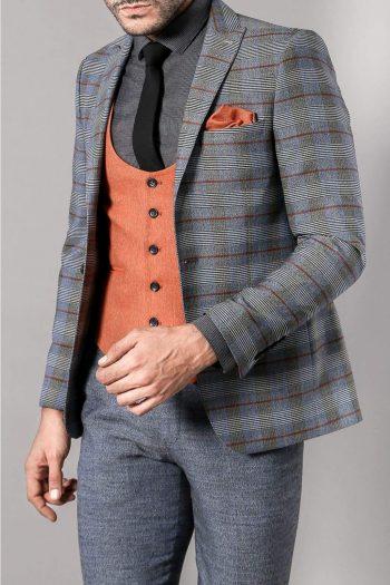 Andrew Mens 3 Piece Blue Orange Tweed Check Style Slim Fit Suit - 36R - Suit & Tailoring