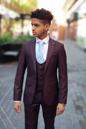 Antonio Mens 3 Piece Skinny Fit Wine Suit - Suit & Tailoring
