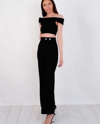 Bardot Top & Button Trouser Co-ord In Black - Shirts