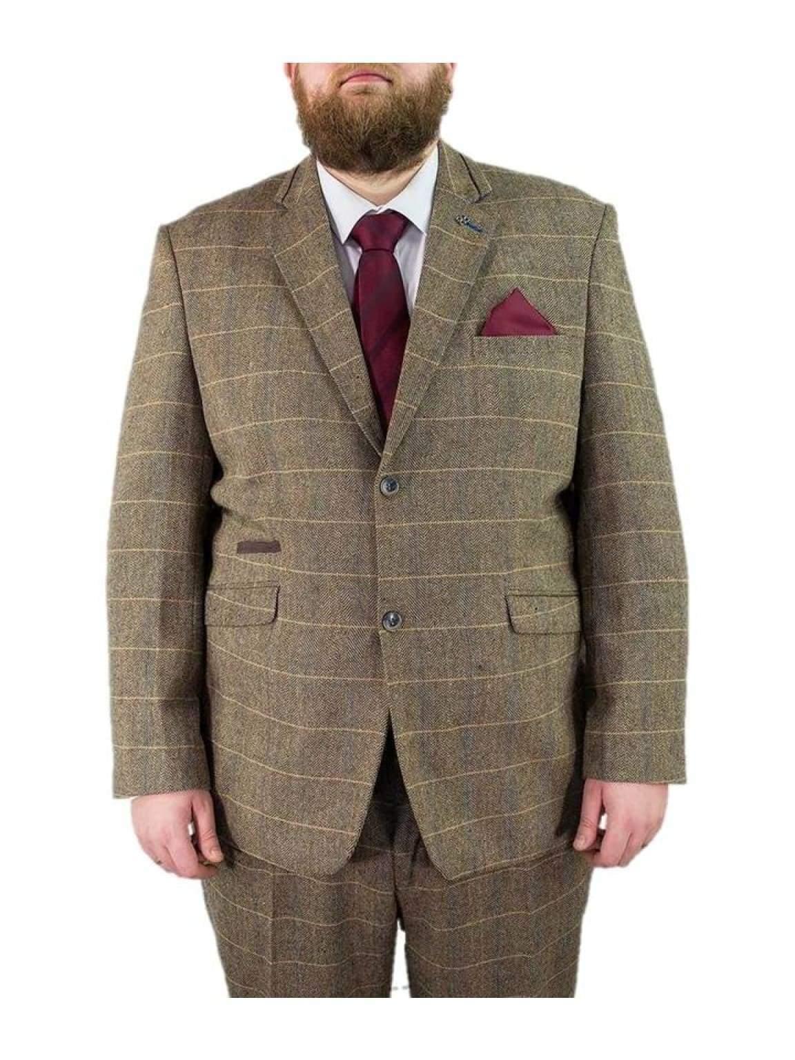 Big & Tall Tweed Suit Regular Fit Cavani Albert Beige Tan Brown Mens 2 Piece Suit - 48S / 44S - Suit & Tailoring
