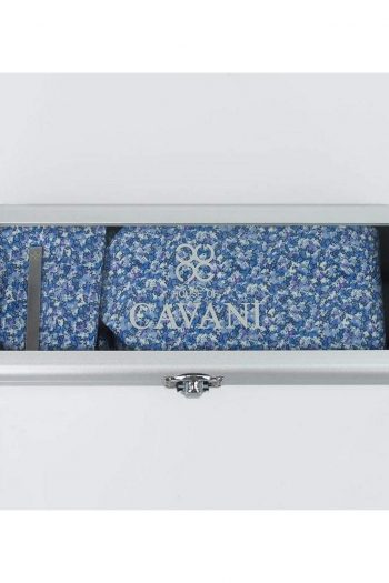 Blue Floral Tie Hank Tie Pin Cufflinks Set - Accessories