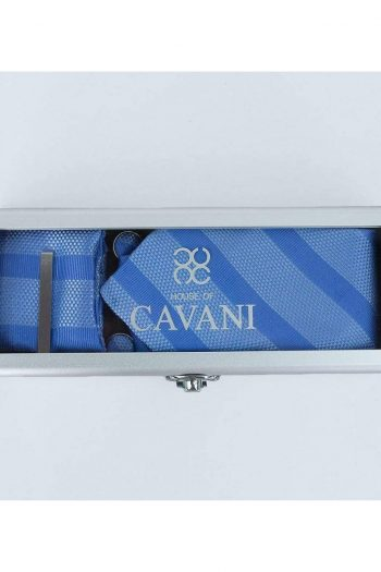 Blue Stripe Tie Hank Tie Pin Cufflinks Set - Accessories
