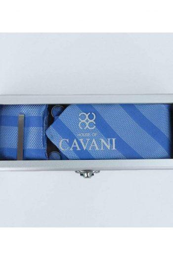 Blue Stripe Tie Hank Tie Pin Cufflinks Set - Accessories