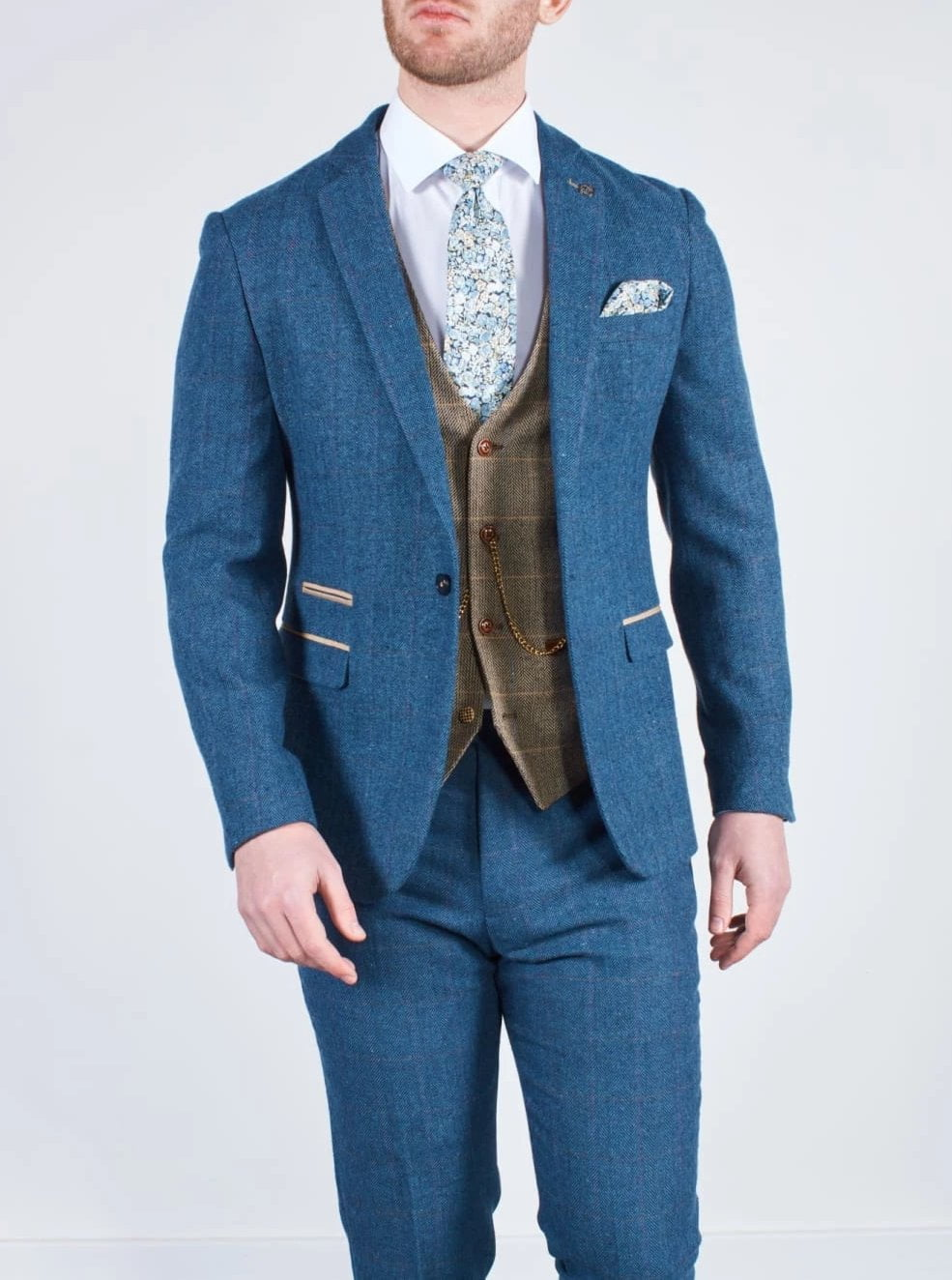 Blue Tweed Wedding Suit with Brown Waistcoat Marc Darcy Dion Ted - Suit & Tailoring