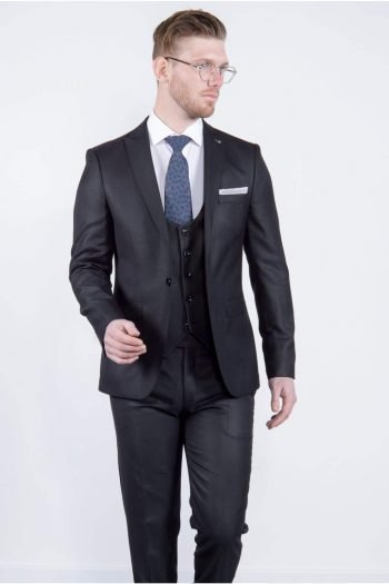 Bond Mens 3 Piece Skinny Fit Black Suit - Suit & Tailoring