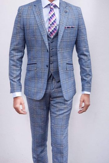 Brendan Mens 3 Piece Blue Slim Fit Check Suit - 34R / 28R - Suit & Tailoring