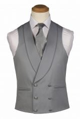 Dove Grey Pure Wool Double Breasted Waistcoat
