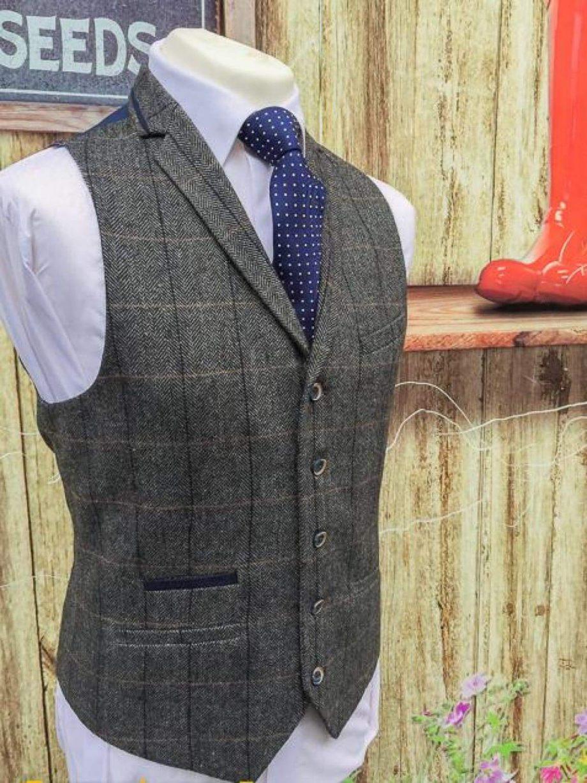 Cavani Albert Grey Mens Tweed Check Lapel Waistcoat - 36 / Short - Suit & Tailoring