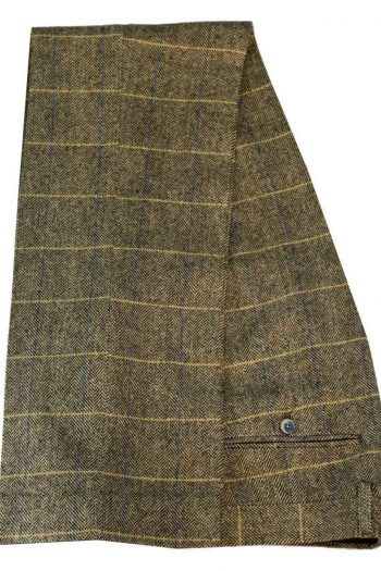 Cavani Albert Mens Beige Tan Brown Tweed Check Trousers - 30 - Suit & Tailoring