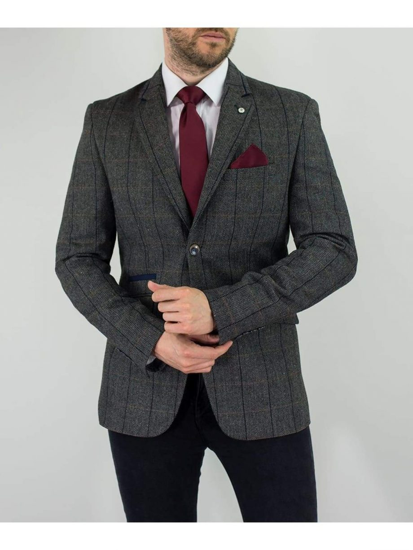Cavani Albert Mens Grey Sim Fit Tweed Style Jacket - Suit & Tailoring