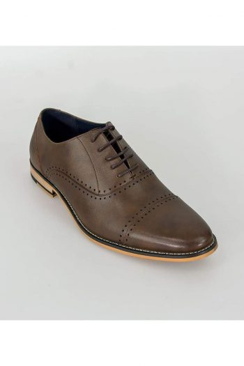 Cavani Alberto Mens Brown Leather Shoes - Shoes