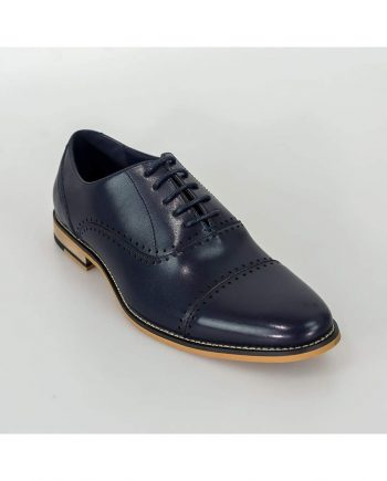 Cavani Alberto Mens Navy Leather Shoes - Shoes