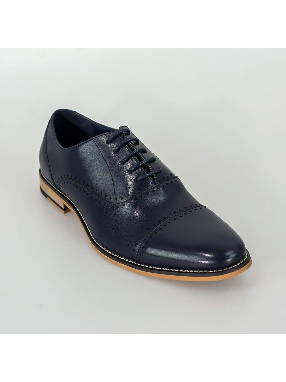Cavani Alberto Mens Navy Leather Shoes - Shoes