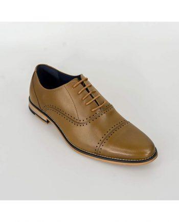 Cavani Alberto Mens Tan Leather Shoes - Shoes