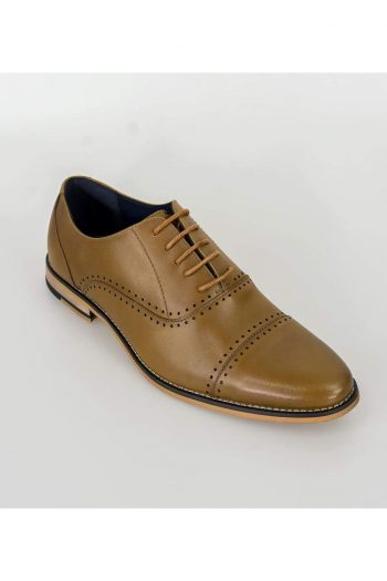 Cavani Alberto Mens Tan Leather Shoes - Shoes