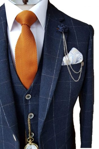 Cavani Angels Navy 3 Piece Check Slim Fit Tweed Suit - 36R / 30R - Suit & Tailoring