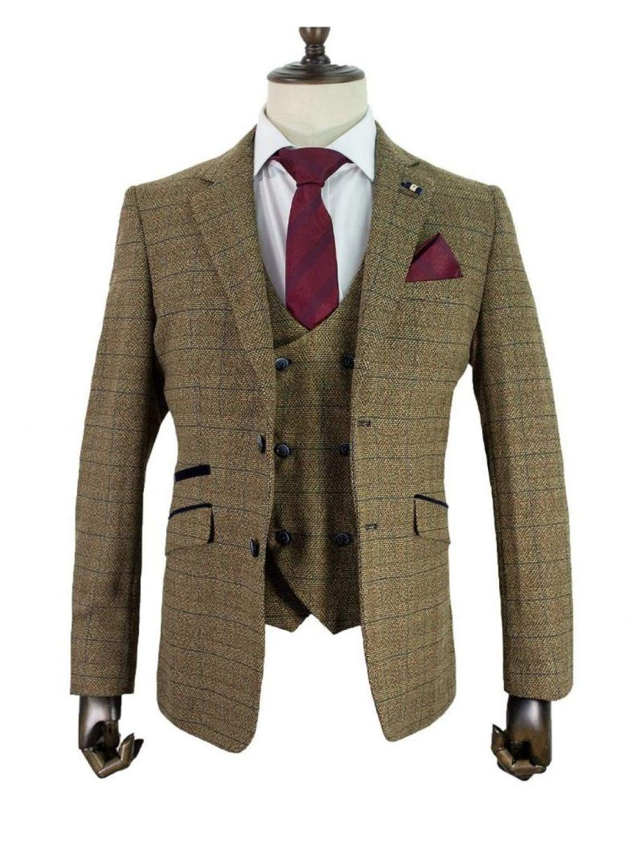 Cavani Ascari 3 Piece Brown Slim Fit Check with Double Breasted Waistcoat - Suit & Tailoring