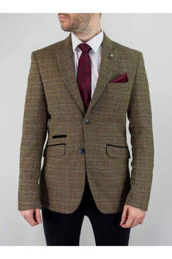 Cavani Ascari Mens Brown Sim Fit Tweed Style Jacket - 34 - Suit & Tailoring