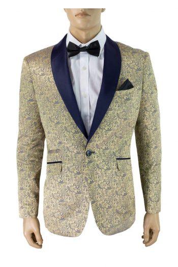 Cavani Bella Champagne Sim Fit Tweed Style Blazer - Suit & Tailoring