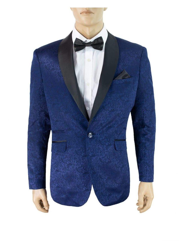 Cavani Bella Navy Slim Fit Tweed Style Blazer - 34 - Suit & Tailoring
