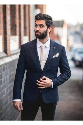 Cavani Bogart Navy Slim Fit Tweed Style Blazer - Suit & Tailoring