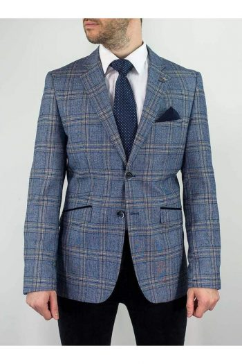 Cavani Brendan Blue Sim Fit check Jacket - 34R - Suit & Tailoring