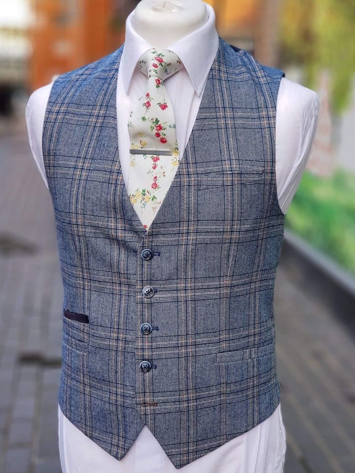 Cavani Brendan Blue Sim Fit check Waistcoat - Suit & Tailoring