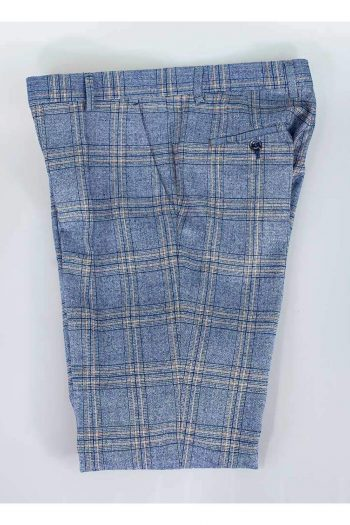 Cavani Brendan Blue Slim Fit check Trousers - 28R - Suit & Tailoring