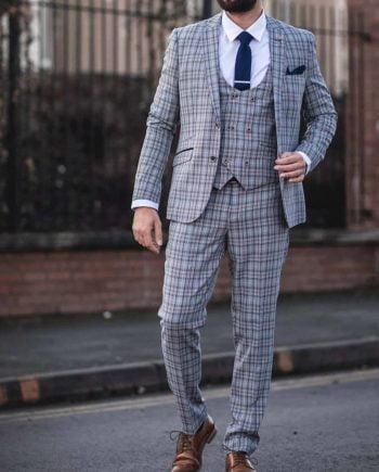 Cavani Callie Grey Check 3 Piece Slim Fit Tweed Suit - Suit & Tailoring