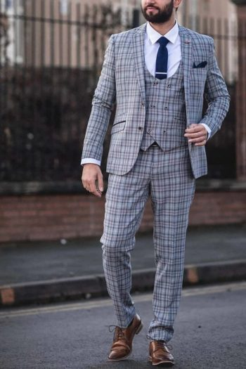 Cavani Callie Grey Check 3 Piece Slim Fit Tweed Suit - Suit & Tailoring