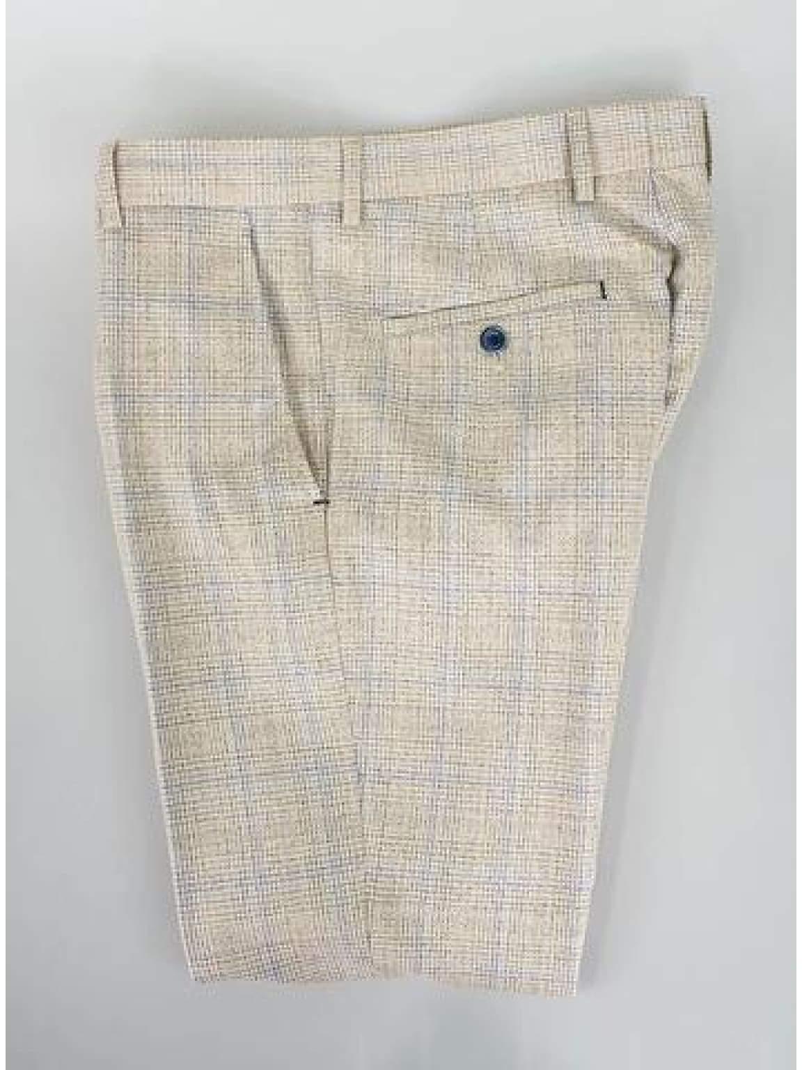 Cavani Caridi Beige Slim Fit Trousers - 28R - Suit & Tailoring