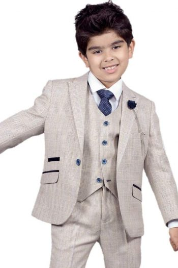 Cavani Caridi Boys Cream Three Piece Slim Fit Check Wedding Suit - 1 YEAR - Suit & Tailoring