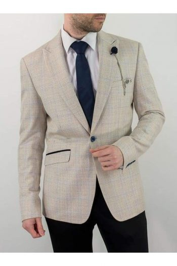 Cavani Caridi Mens Cream Slim Fit Tweed Check Caridi Blazer - 36R - Suit & Tailoring