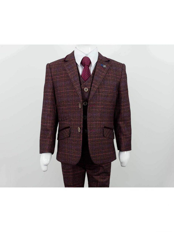 Cavani Carly Boys Three Piece Wine Slim Fit Suit - 1 YEAR - Suit & Tailoring