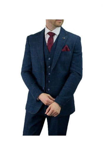 Cavani Carnegi 3 Piece Blue Check Tweed Suit - 36S / 30S - Suit & Tailoring