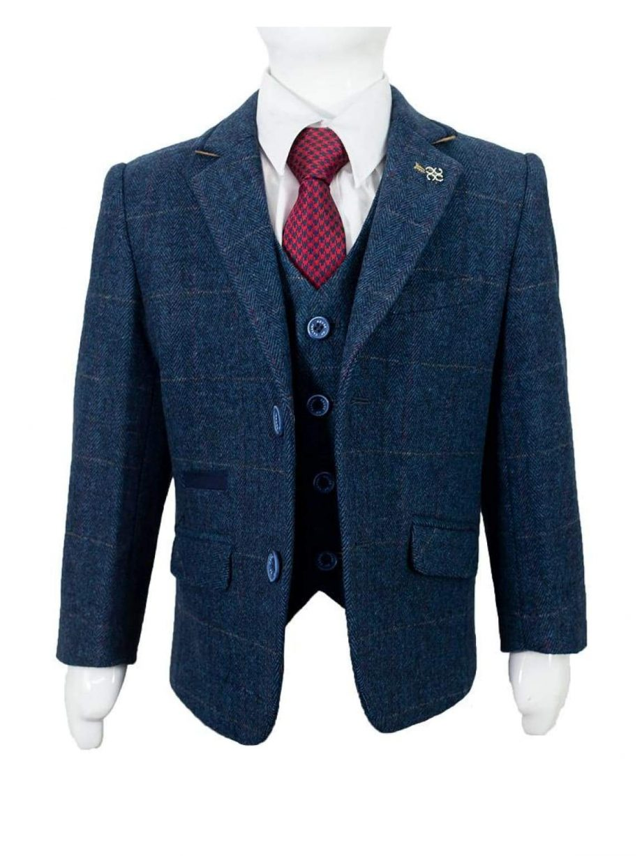 Cavani Carnegi Boys Three Piece Blue Slim Fit Suit - 1 YEAR - Suit & Tailoring