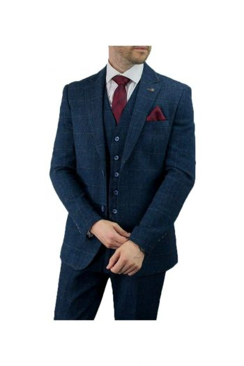 Cavani Carnegi Mens Blue Slim Fit tweed Check Blazer - 36R - Suit & Tailoring