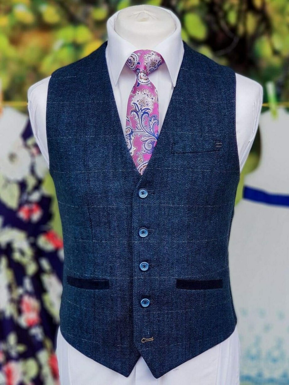 Cavani Carnegi Mens Blue Slim Fit tweed Check Waistcoat - 36R - Suit & Tailoring