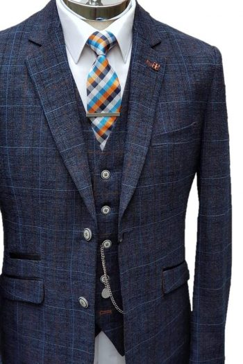 Cavani Cody Mens 3 Piece Blue Check Slim Fit Suit - Suit & Tailoring