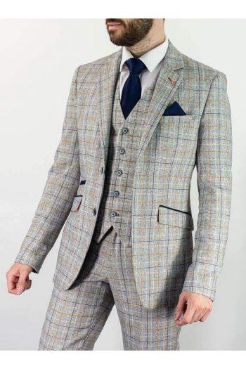 Cavani Cody Mens 3 Piece Ice Check Slim Fit Suit - 36R / 30R - Suit & Tailoring