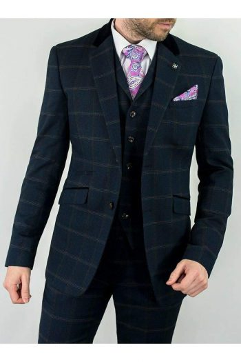 Cavani Connall 3 Piece Navy Slim Fit Tweed Suit - 36R / 30R - Suit & Tailoring