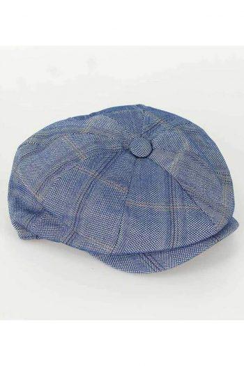 Cavani Connall Blue Check Baker Boy Flat Cap - Accessories