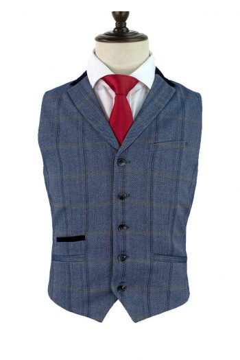 Cavani Connall Blue Tweed Check Style Waistcoat - 36 - Suit & Tailoring