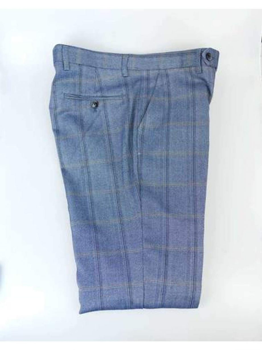 Cavani Connall Blue Tweed Check Trousers - 28R - Suit & Tailoring