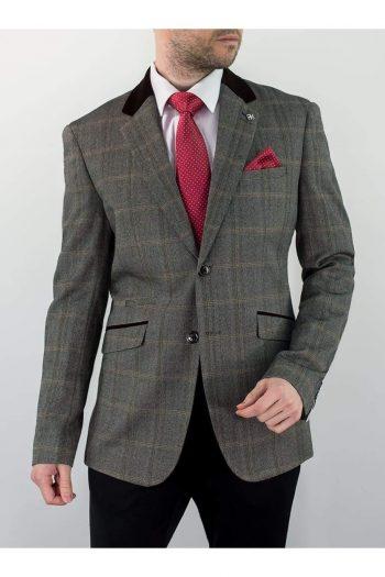 Cavani Connall Brown Sim Fit Tweed Style Blazer - 34 - Suit & Tailoring