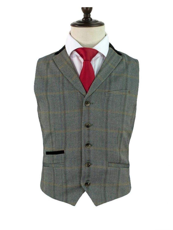 Cavani Connall Brown Tweed Check Style Waistcoat - 36 - Suit & Tailoring