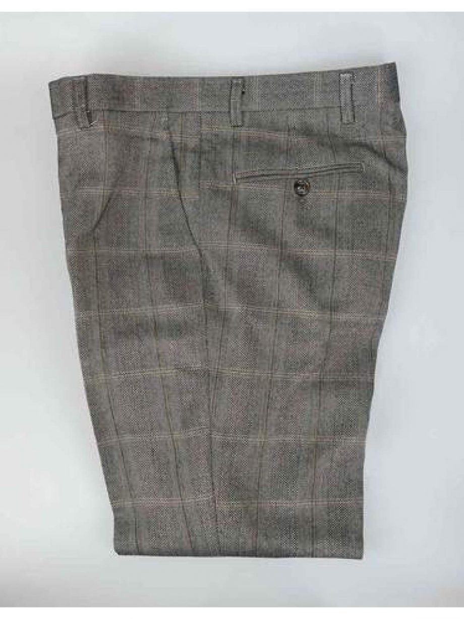 Cavani Connall Brown Tweed Check Trousers - Suit & Tailoring